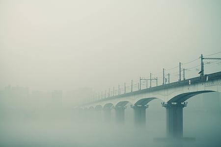 fog, bridge, foggy, railway, landscape, sky, water