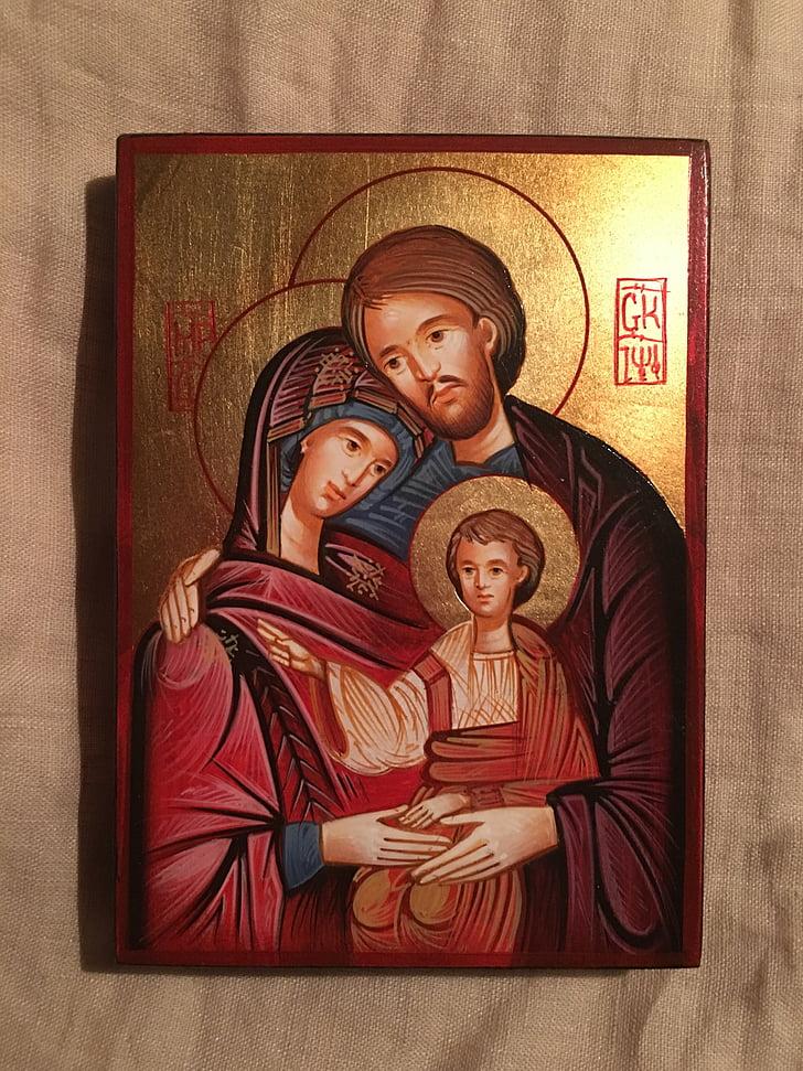 기독교, 아이콘, 신성한 가족, 탄생, 크리스마스, 예수, 성모 마리아