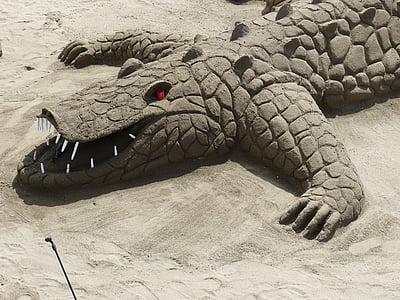 sand sculpture, alligator, crocodile, sand, holiday, beach, sand picture