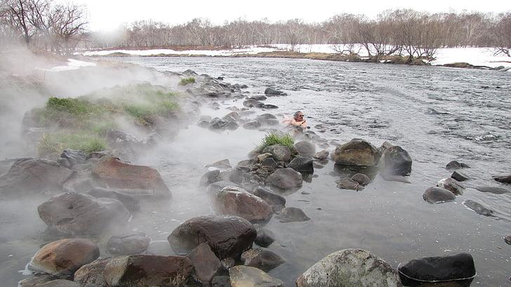 varme kilder, elven, Vinter, par, tilbake på sporet, snø, landskapet