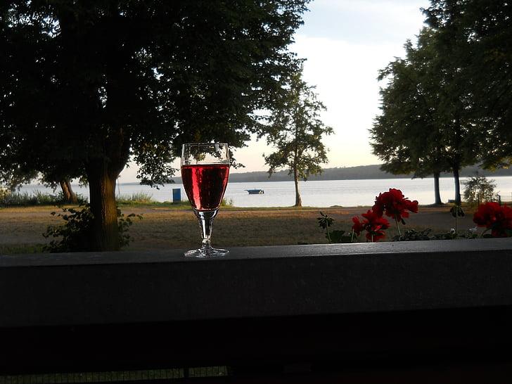 호수, 레드 와인, abendstimmung, 자연, 물