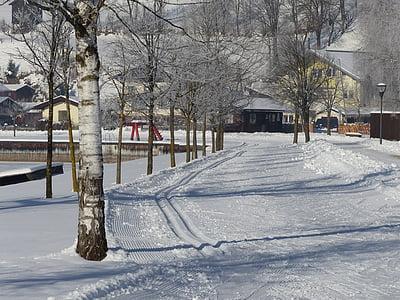 trail, prepared, trace, snow, cold, winter, wintry
