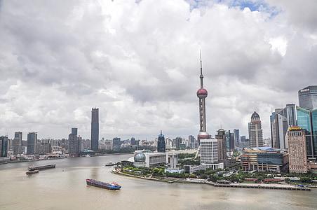 Shanghai, Sky, byggnad, Street, landskap, höga byggnader, Pudong