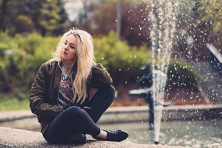 Kaunis, muoti, suihkulähde, Tyttö, Park, henkilö, vesi