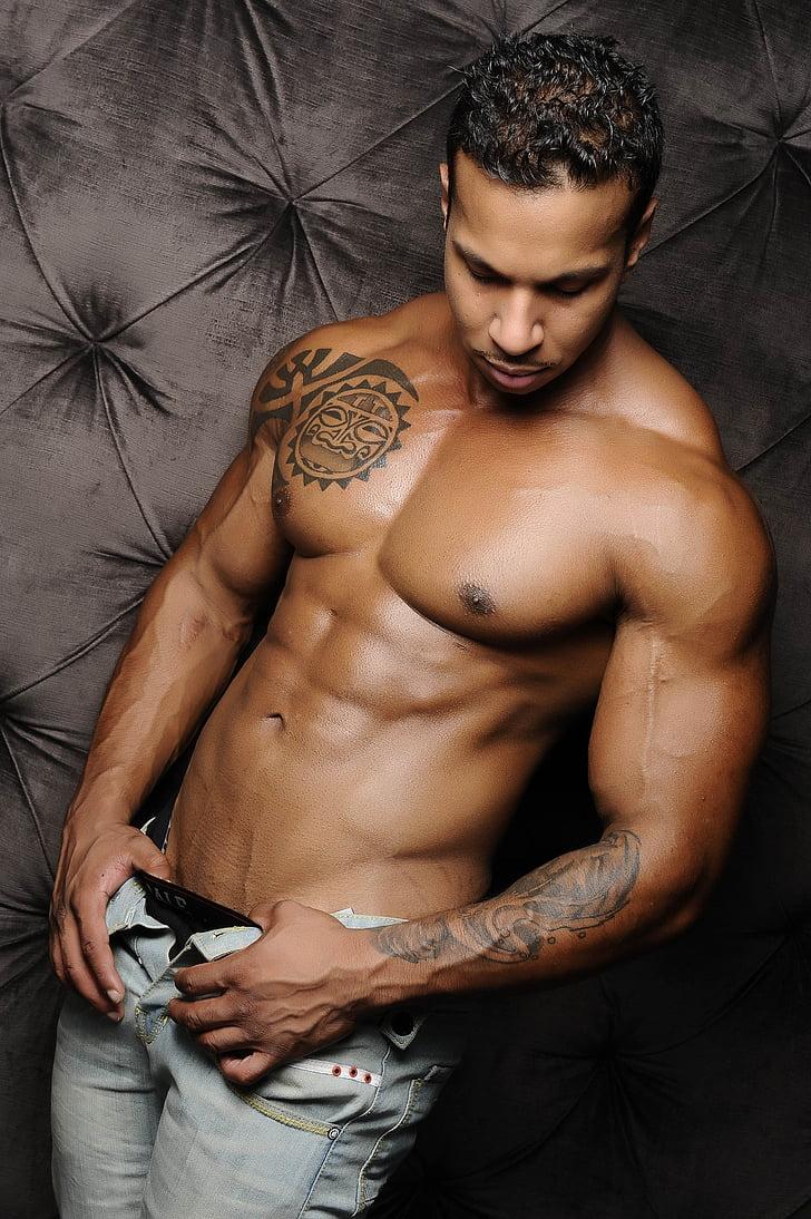 Mudel, Fitness, lihased, keha, ABS, alasti, torso