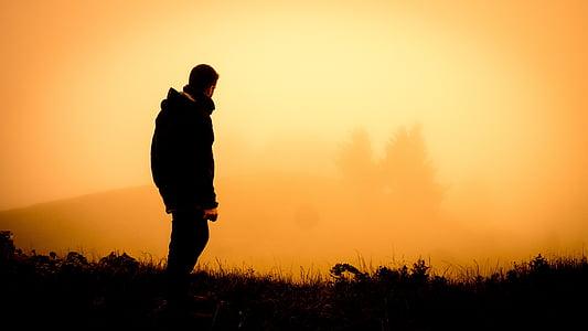 Dawn, soumraku, mlha, muž, mlha, venku, osoba