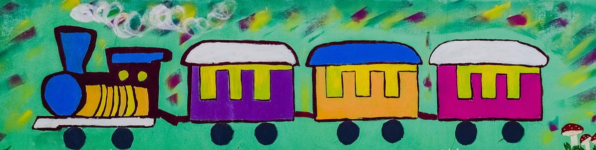 kereta api, grafiti, lukisan, dinding, sekolah, pendidikan, masa kanak-kanak