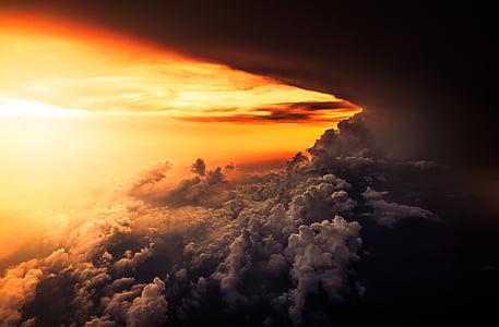 Debesis, cloudscape, tamsus, Aušros, dramos, Sutemos, vakare
