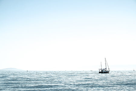 boat, sea, daytime, nature, water, ocean, surface
