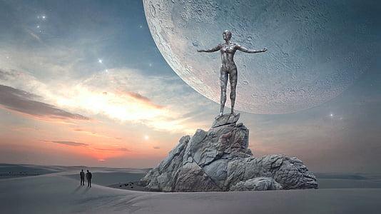 fantasy, landscape, sky, moon, planet, figure, statue