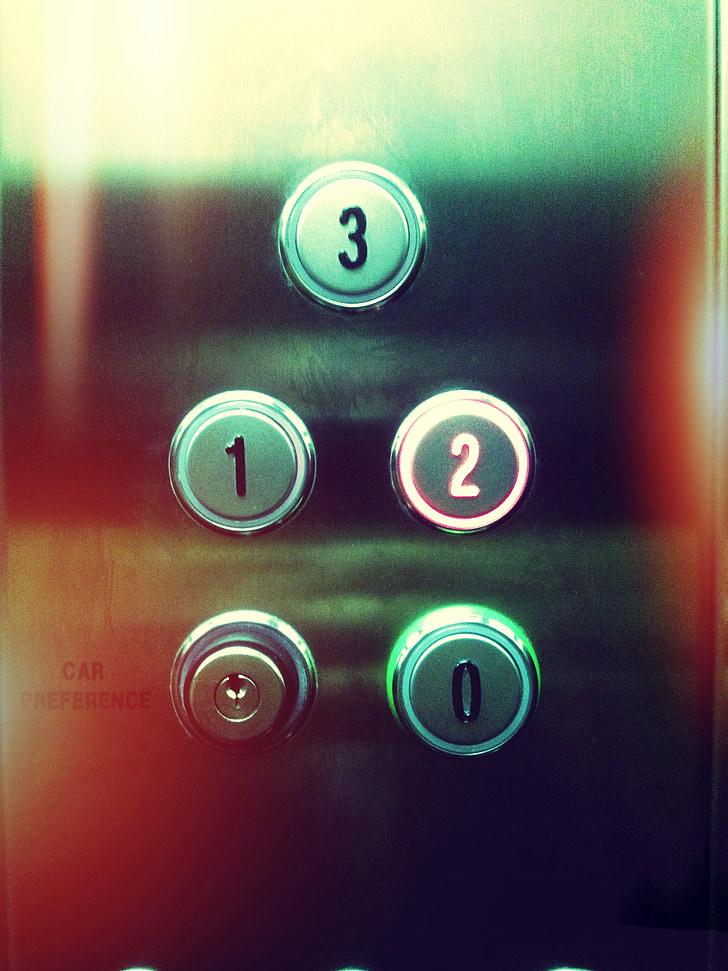 Lift, gombok, absztrakt, fény, világos, színes, nyomja meg a