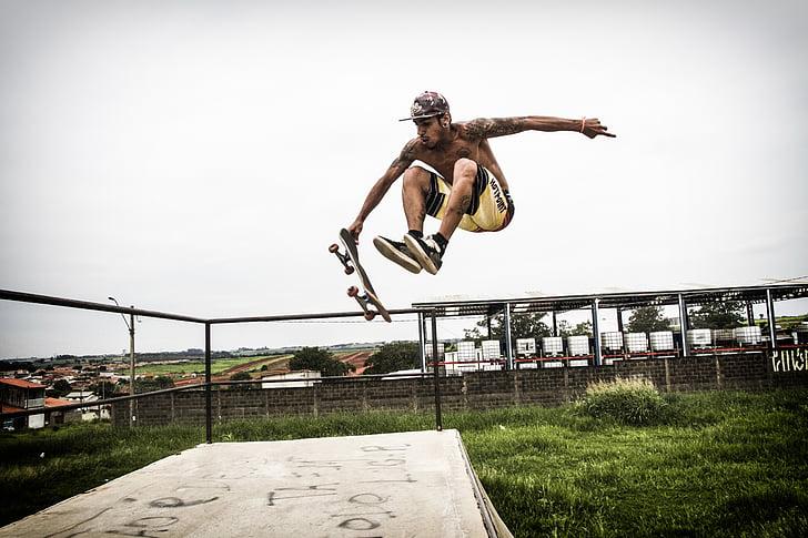 idrott, skateboard, fluga, radikala, skater, extrem sport, hoppning