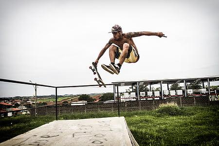 esport, monopatí, volar, radical, patinador, esport extrem, saltant