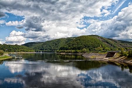 Lago, nuvens, natureza, Seascape, água, céu, paisagem