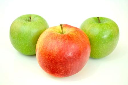 jabuke, Krupni plan, hrana, svježe, voće, zelena, zdrav