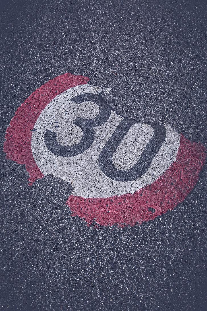 สามสิบ, 30, โล่, ทำเครื่องหมาย, ถนน, เขต 30, จำกัดความเร็ว