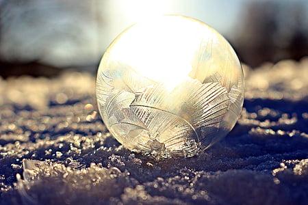 soap bubble, eiskristalle, frost, snow, winter, frozen, cold