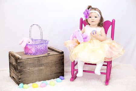 girl, toddler, basket, child, cute, small, childhood