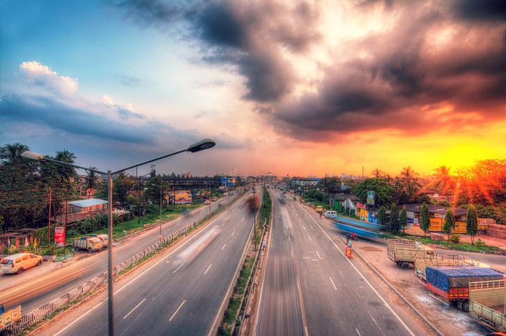 autostrada, tramonto, Sobborghi, nuvole, Alba, autunno