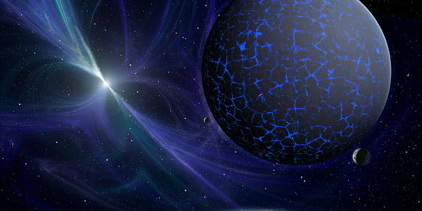 planeta, espai, univers, blau, fons, llum, l'astronomia