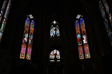 okno, kapela, notranjost, cerkev oknu, pisane, barva, Kapela Kristusa