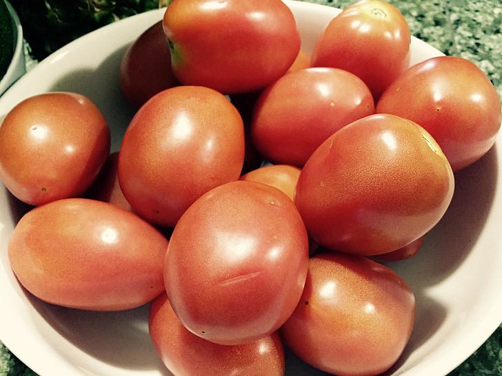 pomidorai, vaisių, daržovių, šviežios, organinių, žalias, raudona
