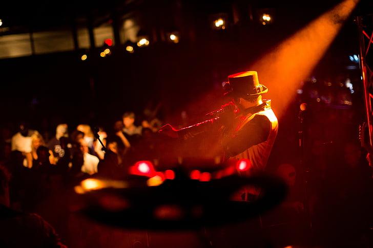 publikum, konsert, lys, musikk, musiker, ytelse, scenen