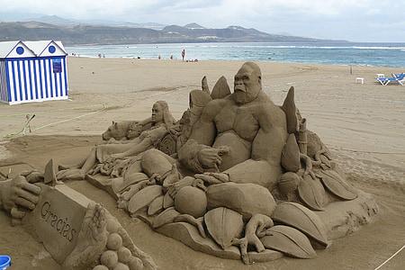 sand figure, sand sculpture, sand art, sculpture, ape, sand mold, beach