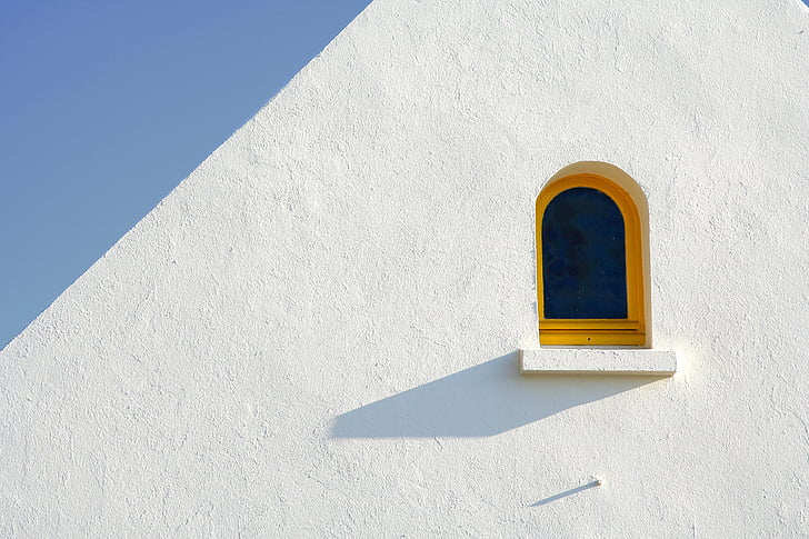 вікно, мінімальний, білий, жовтий, синій, небо, тінь