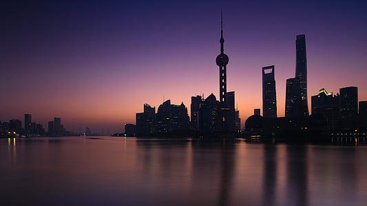 Xangai, Alba, silueta urbana, paisatge urbà, gratacels, arquitectura, Panorama urbà