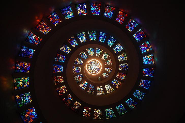 stained glass, spiral, circle, pattern, glass, religion, stained glass window