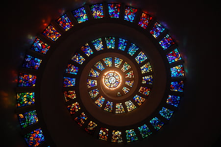 barevné sklo, spirála, kruh, vzor, sklo, náboženství, mozaikové okno