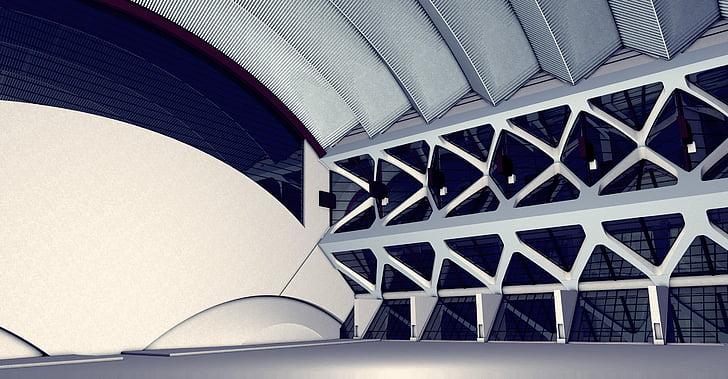 architecture, conception, Hall, spécialement conçu, fonction, salle de sport, transport des êtres