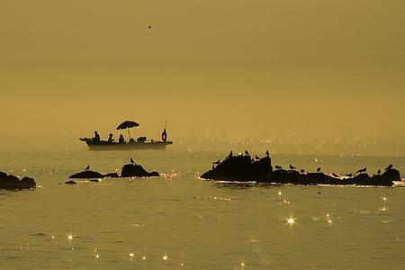 costanera, illa, vaixell de pesca, mu sol, Mar, pesca, platja
