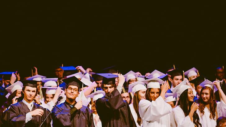 folk, mænd, kvinder, graduering, skole, Universitet