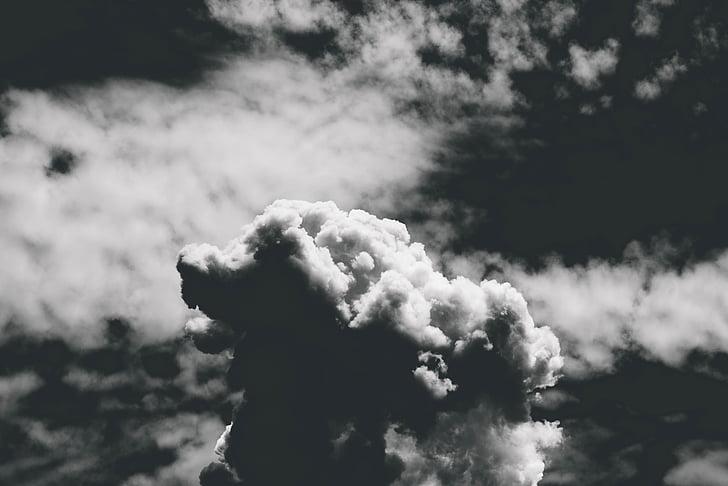 black-and-white, clouds, dark, dark clouds, dramatic, heaven, high