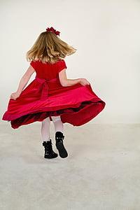 little girl, running, red dress, happy, child, girl, little