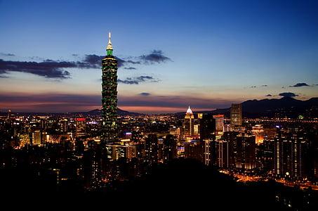 Taipei, horitzó, Taiwan, paisatge urbà, metropolitana, 101, crepuscle