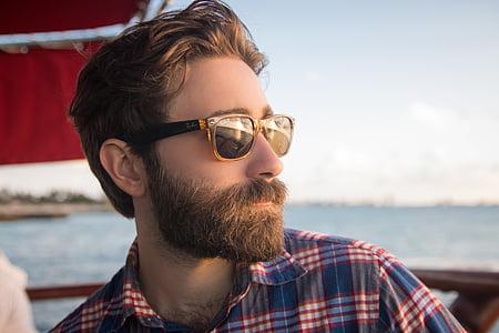 summer, beach, eyeglasses, checkered, beard, sea, ocean