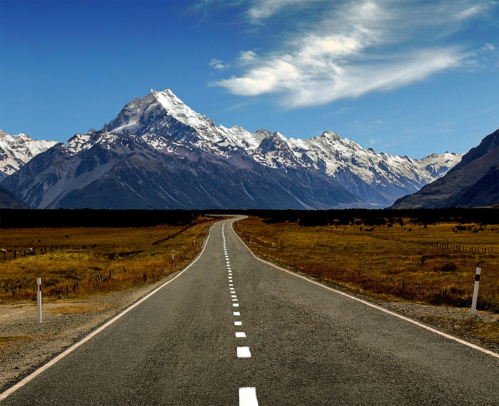way, highway, mountains, landscape, top view