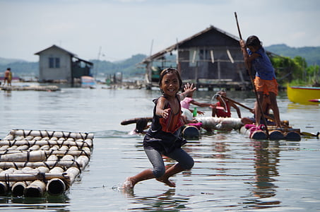 kids, smile, philippines, water, game, swimming, jump