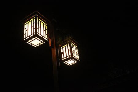 naktī, ielas lukturi, Ķīna, klasiskā, tumša, gaiša