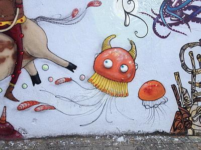 mural, seni, lukisan, grafiti, cat, dicat, Street