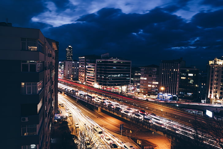 buildings, cars, city, highway, night, road, traffic