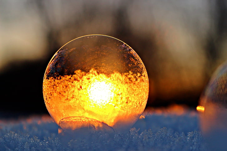 soap bubble, sunset, afterglow, frost blister, frost globe, abendstimmung, snow