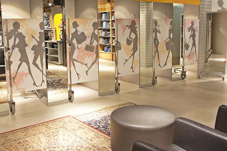 clothing, shop, fitting room, fashion, ladies