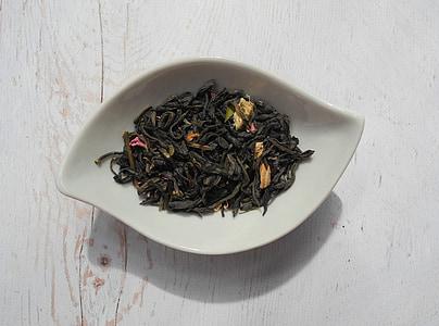čajové lístky, zelený čaj, čaj, šálka, sušené listy, sušené, jedlo
