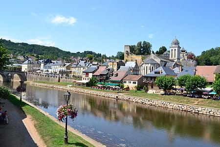 poble, riu, cases, Dordonya, Montignac, Perigord, llanterna