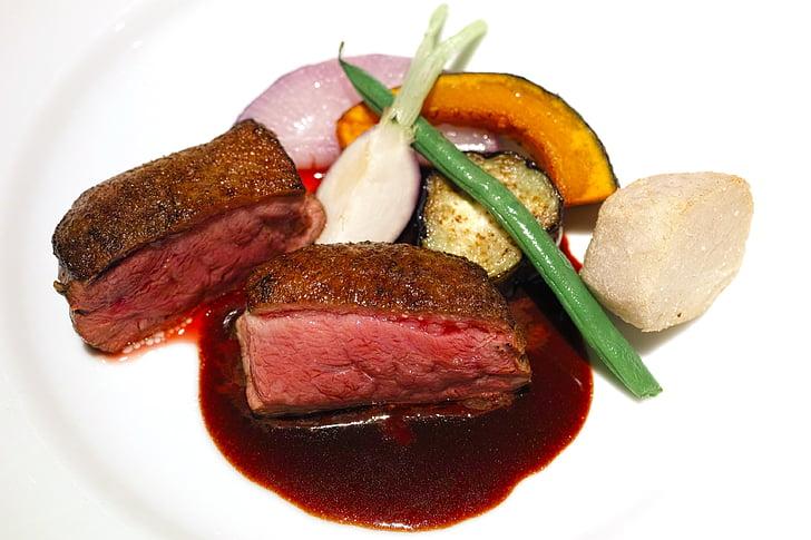 Restaurant, keuken, voedsel, Frans, Franse keuken, eend vlees, geroosterde eend