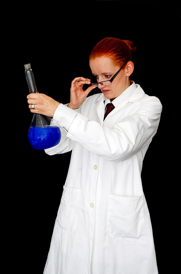 ženska, dekle, ljudje, laboratorij, laboratorij, steklo, tekočina